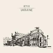 Sketch drawing of Ukraine Kyiv national opera and ballet theatre Stock Illustration