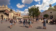 Market Square in Krakow. Old city. Poland. 4K. Stock Footage