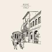 Digital drawing of Rome street, Italy, old italian imperial buil Stock Illustration