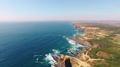 Edge of Europe - the west coast of Portugal aerial view Stock Footage