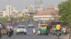 Ellis bridge with busy traffic,Ahmedabad,India Stock Footage