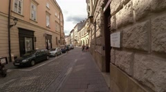 Walking through the ancient streets of Krakow. Poland. 4K. Stock Footage