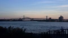 NYC Triborough Bridge Sunset Time Lapse Stock Footage