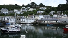 Traditional English Fishing Village in Cornwall, England Stock Footage