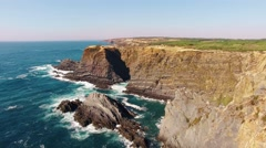 The cliffs on the west coast of Europe, Portugal aerial view Stock Footage