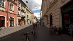 Walking through the ancient streets of Krakow. Poland. 4K. Stock Footage