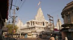 Street scene with white jain temple,Jamnagar,India Stock Footage