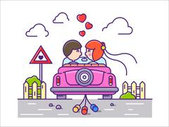 Love concept flat Stock Illustration