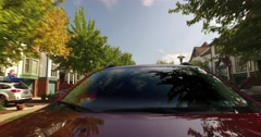 Rear View POV Driving Through Washington's Landing Residential Neighborhood  	 Stock Footage