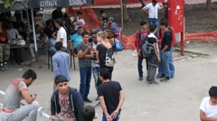 Stranded Refugees in Belgrade Stock Footage