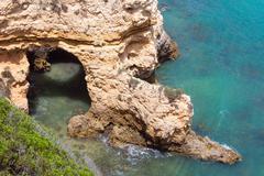 Atlantic rocky coast (Ponta da Piedade, Lagos, Algarve, Portugal). Stock Photos