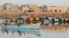 Fisherman boat passing through harbour,Porbandar,India Stock Footage