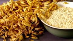 Oats and dry porridge. Stock Footage