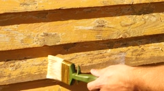 Oiling wood with primer Stock Footage