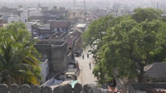 View on city street from fort,Junagadh,India Stock Footage