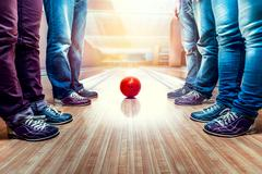 People near bowling ball Stock Photos