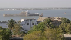 View on Fortim-do-Mar from fort,Diu,India Stock Footage
