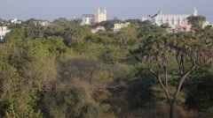 St Paul Church and museum above trees,Diu,India Stock Footage