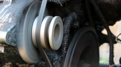 Old tractor engine works. All in oil and dirty Stock Footage