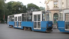 Trams traffic at the city of Krakow Poland - cloudy day Stock Footage