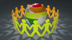 Pride Earth - people holding hands around a rainbow coloured world Stock Footage