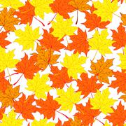 Maple leaves. Autumn and bright background. Endless and seamless pattern Stock Illustration