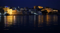 City palace in evening lights,Udaipur,India Stock Footage