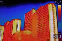 Thermal image on Residential building Stock Photos