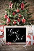 Nostalgic Tree With God Jul Means Merry Christmas Kuvituskuvat