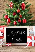 Colorful Tree With Text Joyeux Noel Means Merry Christmas Stock Photos