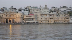Gangaur ghat and hotels at lake,Udaipur,India Stock Footage