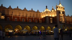 Krakow Old Town Market Square At Night - croud of people World Youth Days Stock Footage
