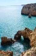Atlantic rocky coastline (Ponta da Piedade, Lagos, Algarve, Portugal). Stock Photos