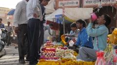 Flower sellers on street,Jaipur,India Stock Footage