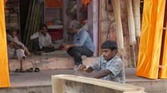 Man making traditional indian half coffin,Jaipur,India Stock Footage