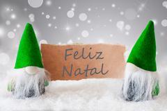 Green Gnomes With Snow, Feliz Navidad Means Merry Christmas Stock Photos