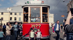 People Exploring Old Soviet Tram and Taking Pictures Stock Footage