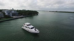 Aerial Shot of the Yacht, Miami Beach Stock Footage
