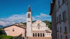 Spoleto cathedral timelapse, Umbria, Italy Stock Footage