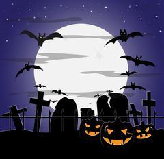 Halloween Cloudy Graveyard Stock Illustration