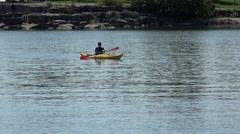 Kayaker returnig from the lake. Stock Footage