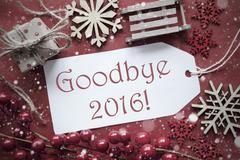 Nostalgic Christmas Decoration, Label With Text Goodbye 2016 Stock Photos