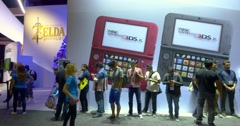Gamers waiting in line to enter Nintendo booth at E3 2016 gaming expo Stock Footage