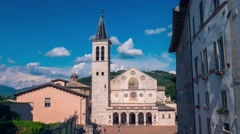 Spoleto cathedral timelapse with moving clouds, Umbria, Italy Stock Footage