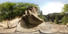 360 VR Sightseeing point Harz mountain range above Radau waterfall Stock Footage