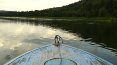 Footage old boat floating on the river. 4K Stock Footage