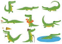 Crocodile character vector set Stock Illustration