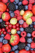 Berry fruits fruit fresh berries collection strawberries, blueberries raspber Stock Photos