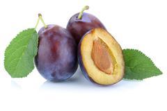Plums plum prunes prune fresh fruits fruit isolated on white Stock Photos