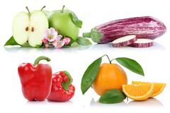 Fruits and vegetables apple orange bell pepper apples oranges collection isol Stock Photos